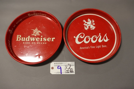 """Times 2 - 13"""" round Budweiser & Coors service trays"""