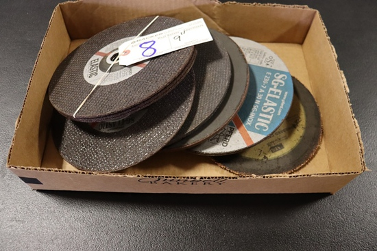 """Box of new & used 9"""" grinding disc"""