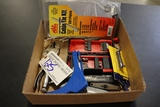 Box with vise grips, utility knifes, cable ties, misc.