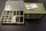 Pair of small inventory cabinets w/ misc. inventory