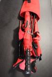 Mac red folding lawn chair w/ umbrella
