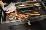 Tool box w/ assorted copper fittings