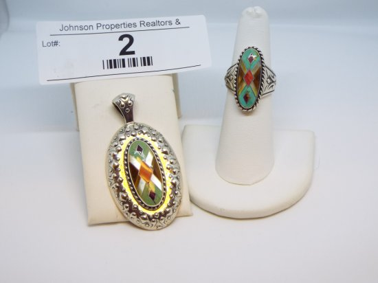 """.925 Silver Ring and Pendant Ring 1in size 6, Pendant 2""""x1"""""""