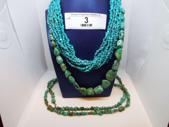 """3 Turquoise Necklaces Multi-strand - 15"""" Large Stone - 17"""" Single Strand -"""
