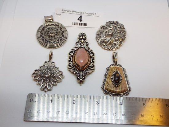 Group of Five .925 Pendants Rose quartz stone has Bronze accents