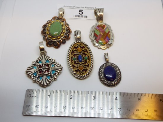 Group of Five .925 Pendants some with copper and brass
