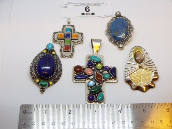 Group of Five .925 pendants .925 silver, one with brass accent