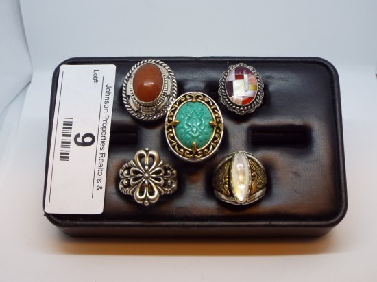 Group of Five Rings All Size 7 All .925 Silver (one with brass accents)