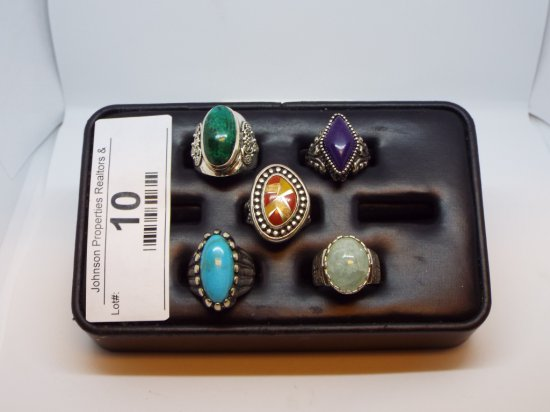 Group of Five Rings All Size 7 All .925 Silver