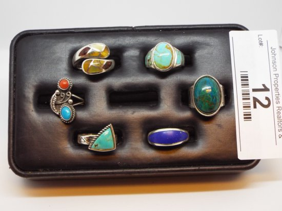Group of Six Rings All Size 6 5 of them .925 Silver