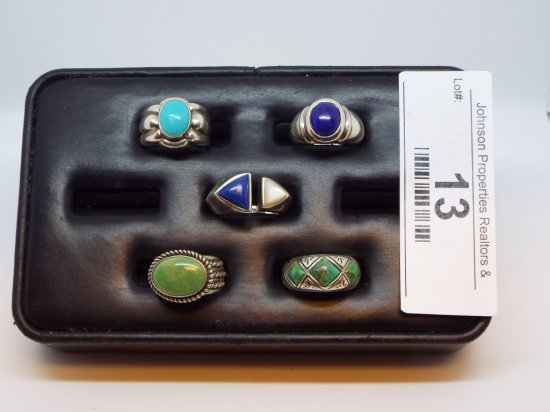 Group of Five Rings All Size 5 3/4 All .925 Silver