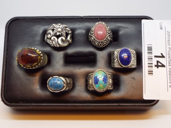 Group of Six Rings - various sizes All .925 Silver Solid Silver