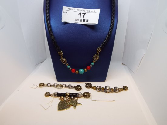 """Black Leather Necklace 18""""- Featuring Magnetic End with Interchangeable Pcs"""