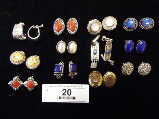 12 Pairs of Clip on Earrings 9 pairs are .925 or sterling Silver 3 are not