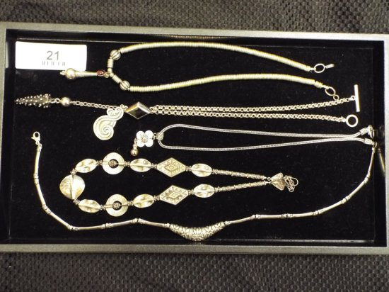 """Group of Five Necklaces - .925 Silver All Approximately 17"""""""