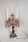 5 arm red satin glass and brass candelabra