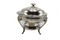 Silver plate candle chaffer with glass bowl