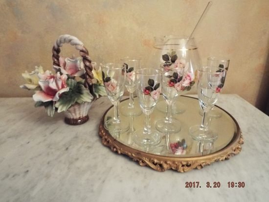 Painted cordial set and pitcher on mirrored tray