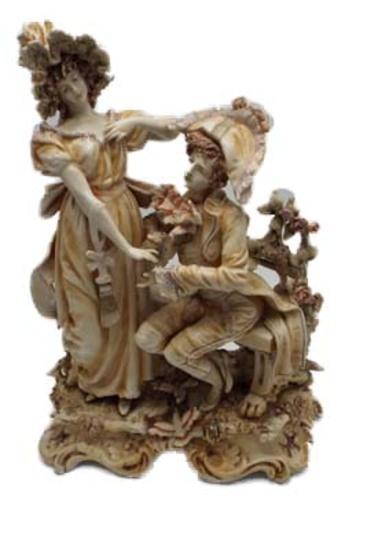 Victorian figurine man proposing to woman