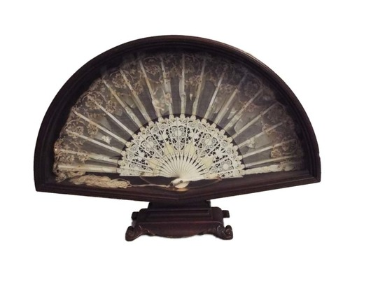 Wood framed antique fan