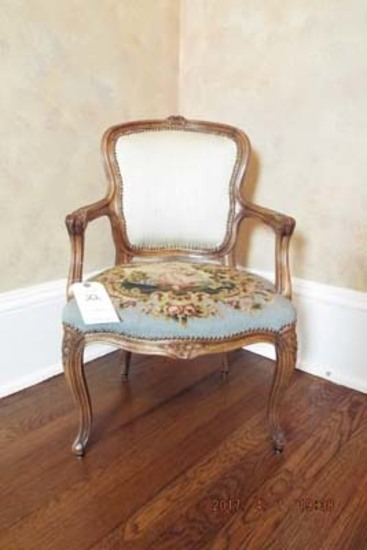 French gold gilded needlepoint child's chair