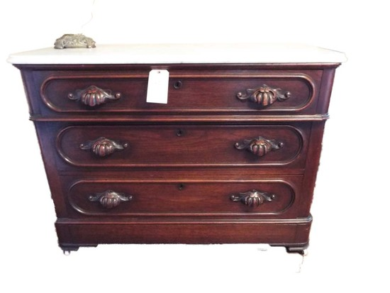 Victorian walnut marble top low chest