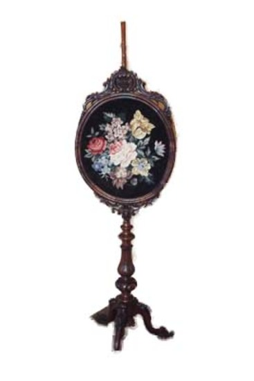 Carved Victorian walnut needlepoint fire screen