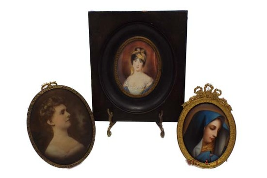 Group of 3 Victorian pictures - hand painted
