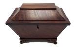 Mahogany tea caddy - casket style