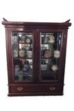 Victorian walnut, glass front curio/bookcase