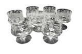 Set of 7 etched glasses
