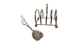 Toast holder and sterling silver tongs