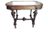 Framed marble top walnut carved parlor table