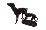 Pair of bronzed greyhound/whippets