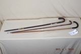 3 vintage wooden canes