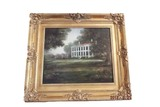 Oil on canvas painting in gold gilded frame