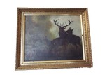 Oil on canvas deer painting in gold gilded frame
