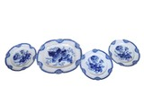 Flow blue ironstone platter and 3 plates