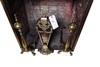 Brass fire place folding screen and brass irons