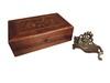 Victorian inlayed walnut lap desk & brass ink well