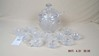 Covered crystal punch bowl set, 11 cups & ladle