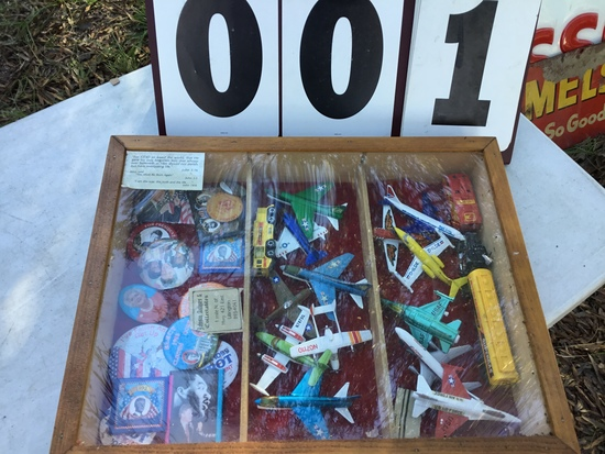 Wooden display case (locked) w/ multiple toy airplanes, political buttons, etc.