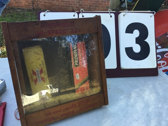 "Old Remington 22 bullet counter display, wood w/ glass front       SIZE: approx. 8"" x 8 1/2"""