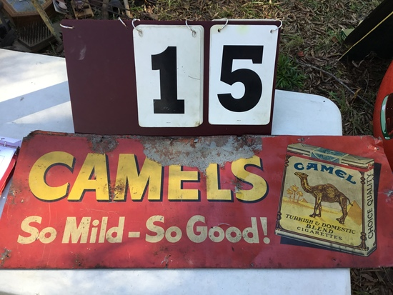 "Old Camels cigarette advertising sign (red), approx. 12"" x 32"" (has damage)"