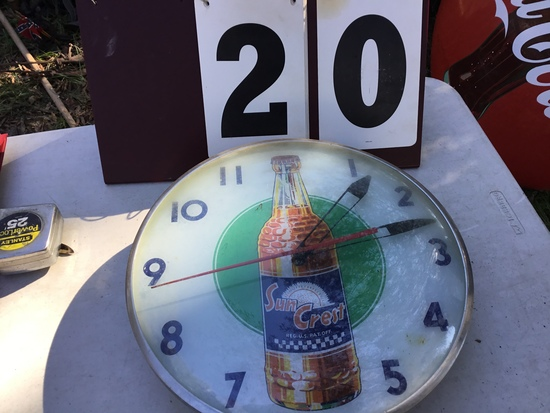 "Old Sun Crest drink clock (electric) w/ dome glass, approx. 15"" diameter"