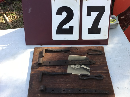 "Old store display board w/ multiple hinges, straps, staple; approx. 11"" x 14 1/2"" long"