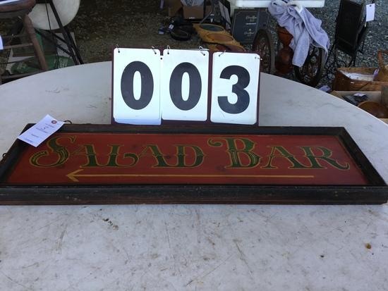 "Salad Bar sign, double-sided, 36"" x 11 1/4"""