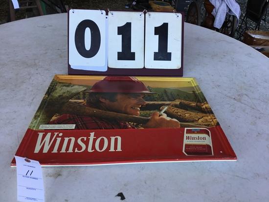 "Winston cigarette metal sign, approx. 21 1/2"" x 17 1/2"" stamped 1980 RJ Reynolds"