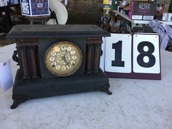 """Sessions Clock, stamped FS Sessions, made in Forestville, CT, 8-day clock, approx. 16"""" x 11"""" x 7"""""""