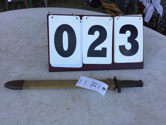 """Bayonet, stamped SA1907, US 198610 w/ sheath, approx. 22"""" w/ sheath, blade approx. 15 3/4"""""""